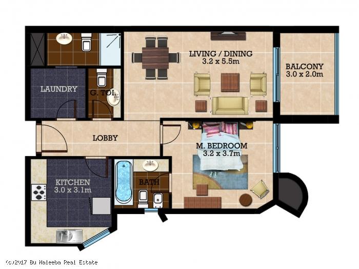 1 bedroom flat t1 al nahda towers unit no tx01 bu for Apartment plans bu
